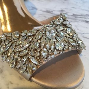 Badgley Mischka Satin Jeweled Wedge Heels